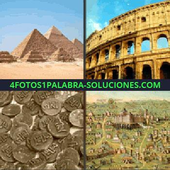 4 Fotos 1 Palabra - pirámides. Coliseo romano. Monedas antiguas o runas. Imagen ciudad de la edad media