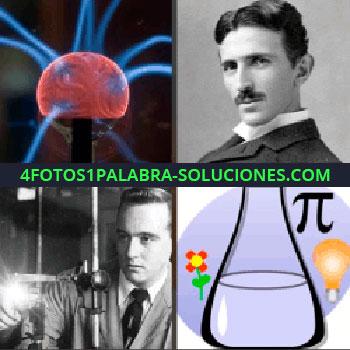 4 Fotos 1 Palabra - experimento. Nikola Tesla. Científico. Probeta o tubo de ensayo