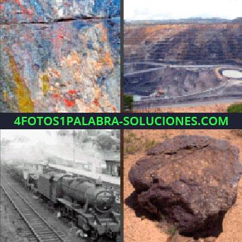 4 Fotos 1 Palabra - rocas. Minas. Montañas. Tren o ferrocarril. Piedra o mineral