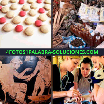 4 Fotos 1 Palabra - píldoras. Puesto en mercado. Imagen antigua. Veterinaria con perro