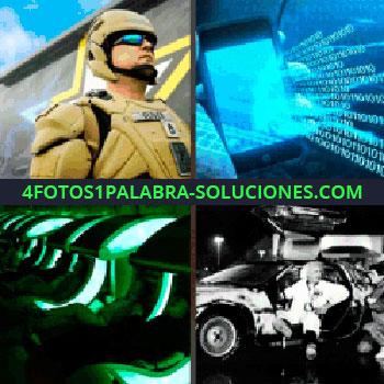 4 Fotos 1 Palabra - soldado con traje moderno. Pantalla con símbolos azules. Personas acostadas en aparatos verdes. Científico coche de Regreso al futuro.