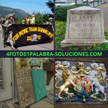 4 Fotos 1 Palabra - letrero soldados. Piedra mármol Alabama. Letrero Life's Better. Escudo león y caballo