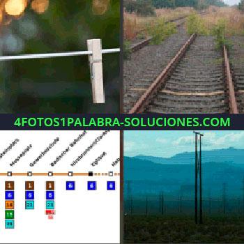 4 Fotos 1 Palabra - pinza. Railes de tren. Mapa del metro. Torres de electricidad