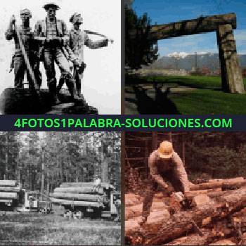 4 Fotos 1 Palabra - estatuas. Arbol gigante. Tala de árboles. Hombre con motosierra cortando troncos