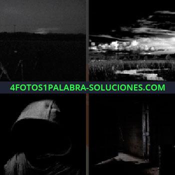 4 Fotos 1 Palabra - paisaje oscuro. Paisaje nocturno. Hombre con capucha. Noche