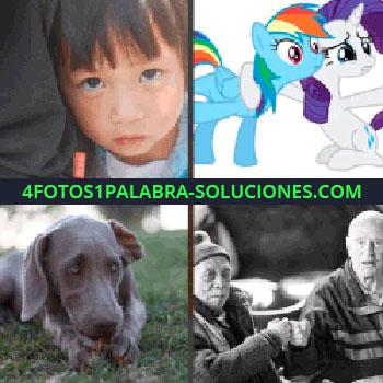 4 Fotos 1 Palabra - cara niño. Dibujos o caricaturas. Perro acostado en la hierba. Señores mayores