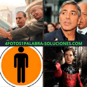 4 Fotos 1 Palabra - George Clooney. Señalización con silueta de persona. El hombre araña o Spiderman