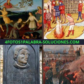 4 Fotos 1 Palabra - hoguera. Imágenes antiguas. Grabados antiguos. Lápida o grabado Giordano Bruno. Pintura quemando en la hoguera