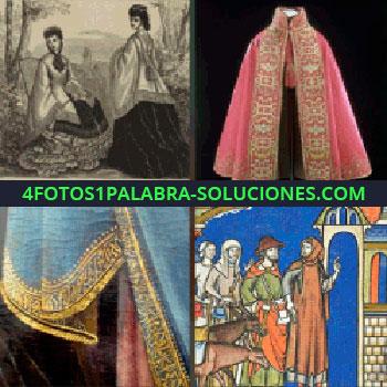 4 Fotos 1 Palabra - Imagen antigua. ropa antigua. Capa antigua. Dibujos antiguos