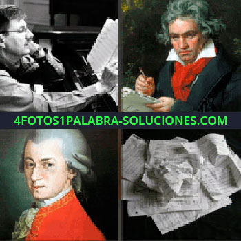 4 Fotos 1 Palabra - Hombre con partituras. Beethoven. Mozart. Partituras arrugadas