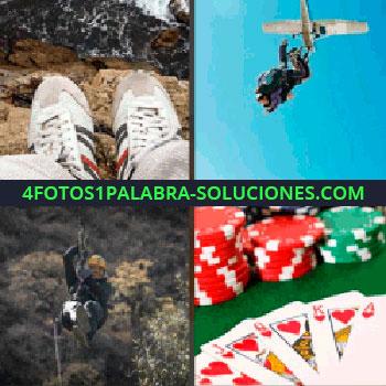 4 Fotos 1 Palabra - acantilado. Persona volando, Tirándose en tirolina. Cartas y fichas de poker