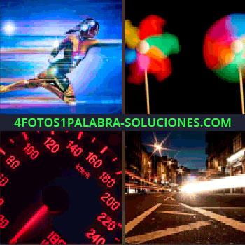 4 Fotos 1 Palabra - Dibujo o caricatura. Molinillo de viento de papel. velocímetro o cuentakilómetros. Carretera con luces ciudad