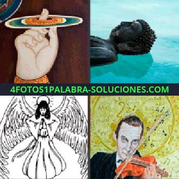 4 Fotos 1 Palabra - Dibujo mano con aro de color alrededor. Estatua en el agua. angel dibujado. Dibujo hombre con violín