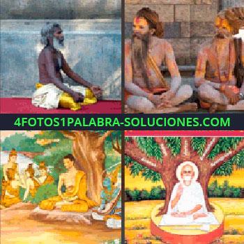 4 Fotos 1 Palabra - Pintura de alguien meditando bajo un árbol, hombres con el cuerpo pintado, hombres meditando - Esta no es fácil...