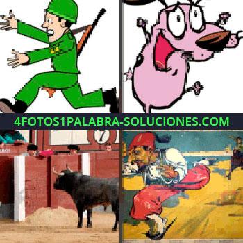 4 Fotos 1 Palabra - Caricatura de perro rosa, dibujo de hombre con turbante y pantalón rojo huyendo, toro soldado corriendo