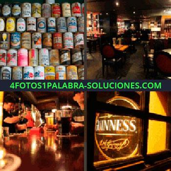 4 Fotos 1 Palabra - latas de bebidas. Restaurante. Barra de bar. Letrero iluminado Guinness