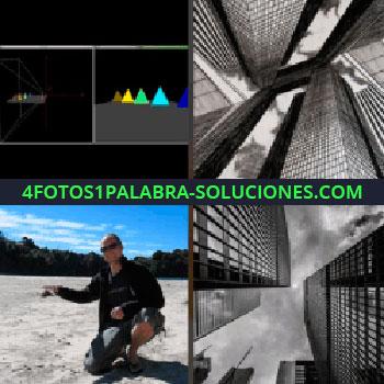 4 Fotos 1 Palabra - Hombre en el campo, pantallas oscuras con triángulos de colores, edificios, rascacielos en blanco y negro