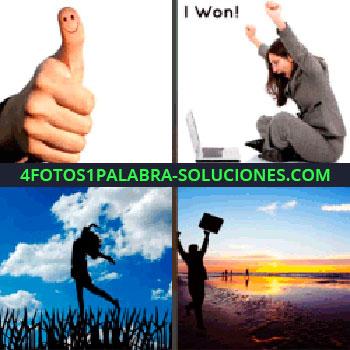 4 Fotos 1 Palabra - Mano con pulgar hacia arriba, pulgar con carita feliz, mujer sentada en el suelo levantando los brazos frente a computadora, I won
