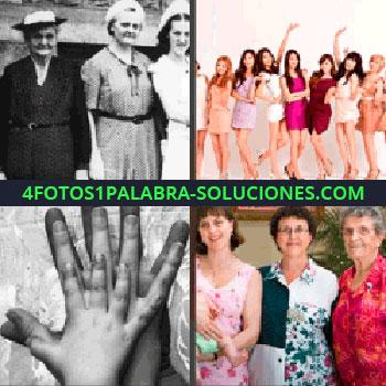 4 Fotos 1 Palabra - Tres mujeres y un bebé en brazos, muchas chicas, foto antigua de tres mujeres, manos de diferentes tamaños una sobre otra - 3 manos