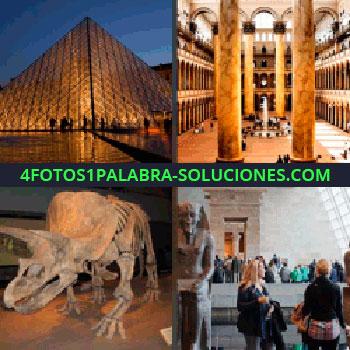 4 Fotos 1 Palabra - Pirámide cristal París. Impresionantes columnas. esqueleto dinosaurio. Personas junto a estatua antigua