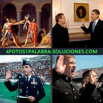 4 Fotos 1 Palabra - Soldados levantando la mano, cuadro antiguo de soldados romanos, Obama que estabas buscando
