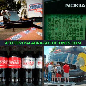4 Fotos 1 Palabra - Snickers. nokia. Coca Cola. Casco gigante