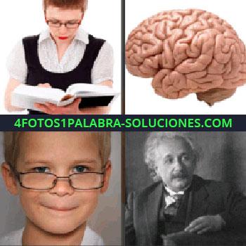 4 Fotos 1 Palabra - Señora leyendo libro. cerebro Einstein. Niño con lentes o gafas