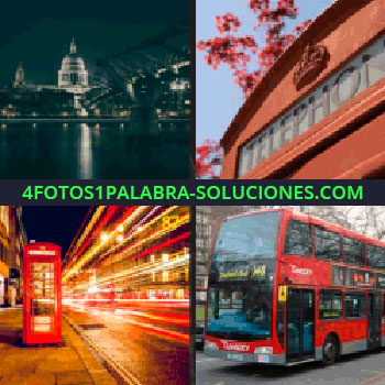 4 Fotos 1 Palabra - Ciudad de noche. Telephone. Cabina de teléfonos roja. autobús rojo de dos plantas
