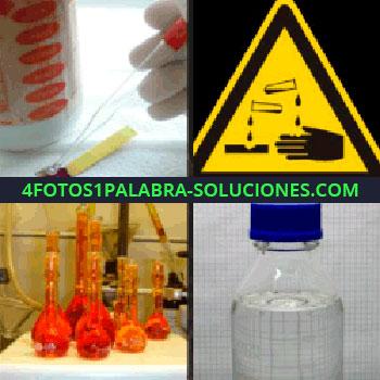 4 Fotos 1 Palabra - Laboratorio pruebas. Cartel peligro líquidos. probetas. Botella tapón azul