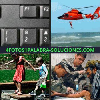 4 Fotos 1 Palabra - teclado F1 F2. Helicóptero de rescate. Niños de la mano. Militares curando a persona