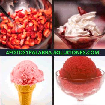 4 Fotos 1 Palabra - Fresas troceadas, fresas con nata en una copa, helado de fresa, copa de helado rojo, helado rosa