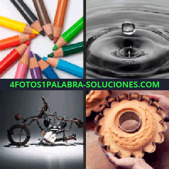 4 Fotos 1 Palabra - Gota de agua, pastel, escultura de hierro como una motocicleta, lápices de colores