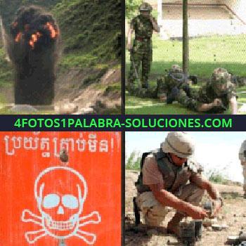 4 Fotos 1 Palabra - Letrero naranja con calavera, peligro, soldado desactivando bomba, soldados explosión