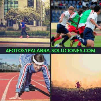 4 Fotos 1 Palabra - Running, hombre corriendo por el campo, pista de atletismo, futbolistas corriendo