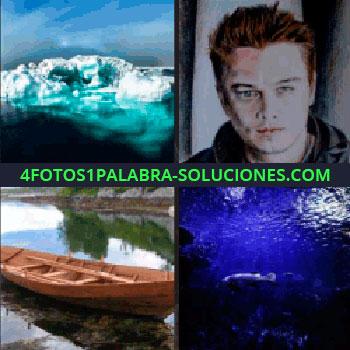 4 Fotos 1 Palabra - Leonardo Dicaprio, oceano, fondo del mar, glaciar barca