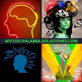 4 Fotos 1 Palabra - Cerebro con luces de neón en rojo y amarillo, mujer con muchas cosas en la cabeza, dibujo de colores, cabeza azul