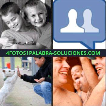 4 Fotos 1 Palabra - Niño abrazando a otro niño, niño con perro blanco, grupo de hombres, símbolo de Facebook -