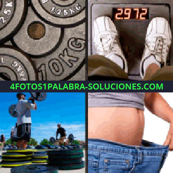 4 Fotos 1 Palabra - balanza, hombe con jeans o pantalón holgado, pesas, gimnasio, mancuernas