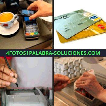 4 Fotos 1 Palabra - tarjetas de crédito, postnet, terminal de pagos, mano pagando