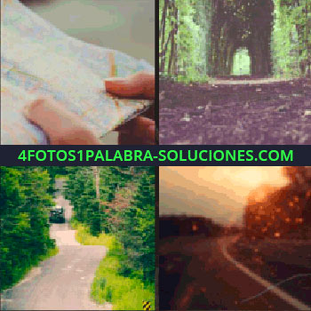 4 Fotos 1 Palabra - mapa en las manos. Sendero. Camino en el bosque. Carretera al atardecer