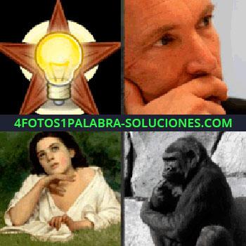4 Fotos 1 Palabra - foco, lampara, mujer pensando, gorila o mono