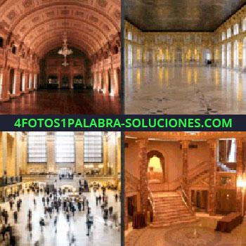 4 Fotos 1 Palabra - estación de tren, pasillo o galería, escaleras, salón amplio