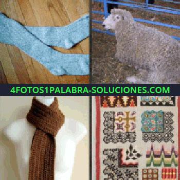 4 Fotos 1 Palabra - oveja, medias, bufanda o scarf, alfombra o tejido