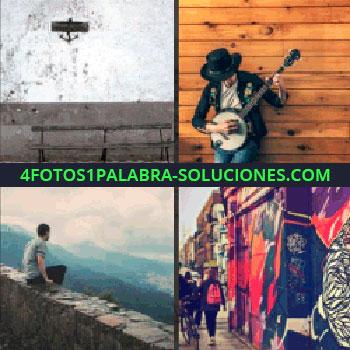 4 Fotos 1 Palabra - hombre con guitarra, pared, wall, hombre en montaña