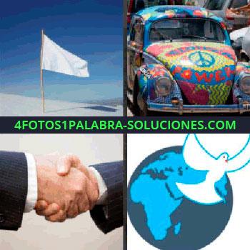 4 Fotos 1 Palabra - bandera blanca en la playa, hombres dándose la mano, dibujo de paloma, beetle hippie