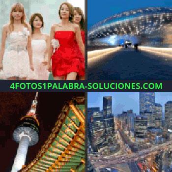 4 Fotos 1 Palabra - mujeres con vestidos, torre y estuctura antigüa, ciudad, edificio