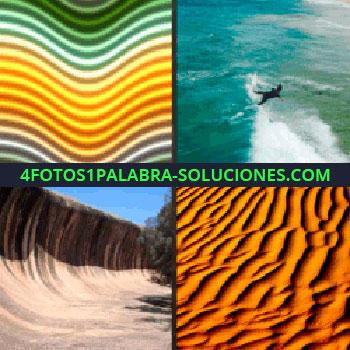 4 Fotos 1 Palabra - desierto, hombre en el agua, olas