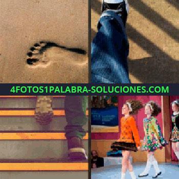 4 Fotos 1 Palabra - pisada sobre la arena, huella, pies subiendo escalera, pies caminando, niñas caminando