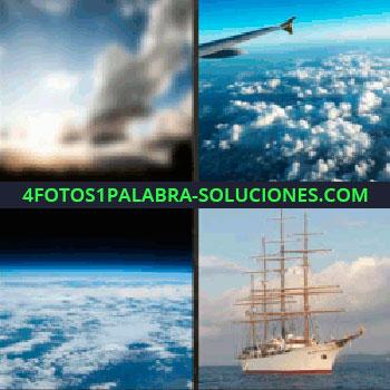 4 Fotos 1 Palabra - Tierra vista desde el espacio, avión volando, barco en el agua, amanecer