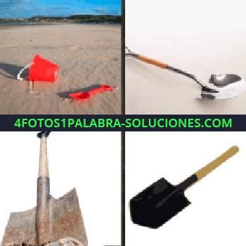 4 Fotos 1 Palabra - balde y palita en la playa, elemento de construcción